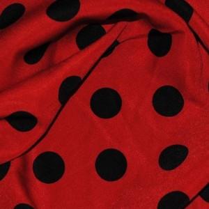 """Ткань Лоренсо """"Черные горохи на красном"""" (i1407)"""
