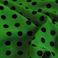 """Ткань Лоренсо """"Черные горохи на зеленом"""""""