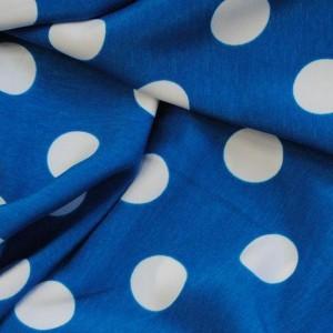 """Ткань Лоренсо """"Белые горохи на голубом"""" крупные (i1427)"""