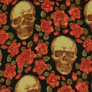 """Ткань Шелк Атлас Принт """"Черепа в розах"""" (i3093)"""