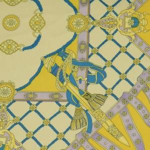 """Ткань Шелк Атлас Принт """"Желтый платок""""  (i3094)"""