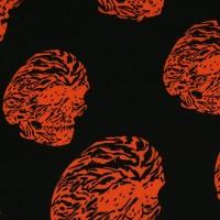 """Ткань Шелк Атлас Принт """"Оранжевый череп"""""""