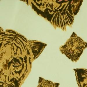 """Ткань Шелк Атлас Принт """"Тигры на светлом"""" (i3116)"""