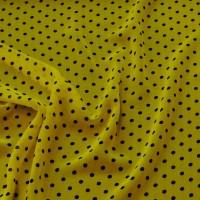 """Ткань Шифон """"Черные горохи на желтом"""""""