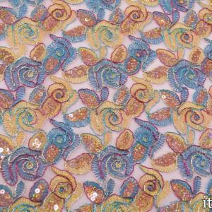 Ткань с пайетками 300 г/м2, узор цветочный (7444)