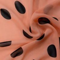 Оранжевый шифон в черный горох