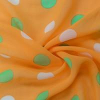 Оранжевый шифон в разноцветный горох