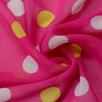 Розовый шифон в разноцветный горох
