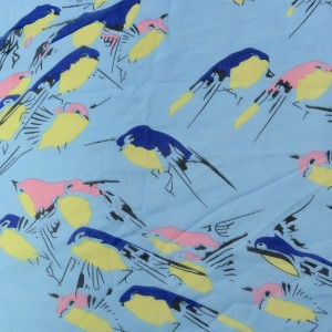 Голубой шифон с принтом птицы 60 г/м2, узор с животными (9691)