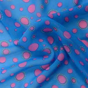 Синий шифон в розовый горох 9702 цвет разноцветный
