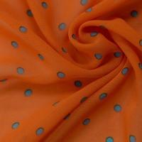 Оранжевый шифон в синий горох