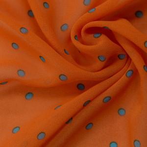 Оранжевый шифон в синий горох 9655 цвет разноцветный