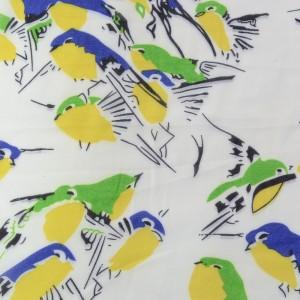 Белый шифон с принтом птицы 9703 цвет разноцветный