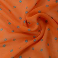Оранжевый шифон в голубой горох