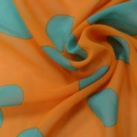Оранжевый шифон в бирюзовый горох