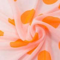 Розовый шифон в оранжевый горох