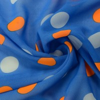 Синий шифон в разноцветный горох