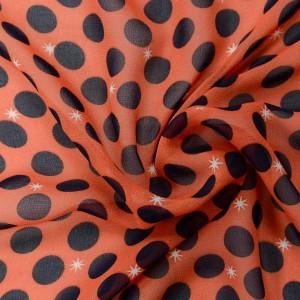 Оранжевый шифон в синий горох 9660 цвет разноцветный