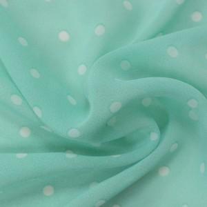 Мятный шифон в белый горох 9662 цвет разноцветный