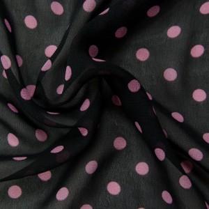 Черный шифон в розовый горох 9665 цвет разноцветный
