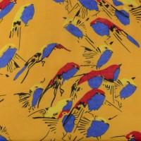 Желтый шифон с принтом птицы