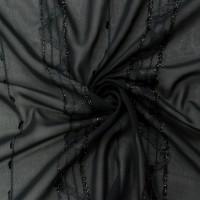 Черная плательная ткань с вышивкой