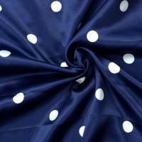 Синий атлас стрейч в белый горох
