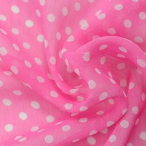 Розовый шифон в белый горох 9673 цвет разноцветный