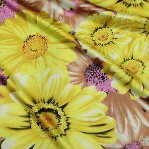 Ткань Атлас Принт, узор цветочный (5556)