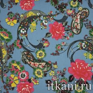 Ткань Джинс принтованный, узор турецкий огурец (3885)