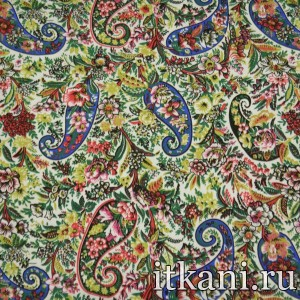 Ткань Джинс принтованный, узор турецкий огурец (3886)