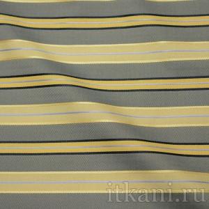 """Ткань Жаккард желто-синего цвета в полоску """"Саманта"""", узор полоска (1121)"""