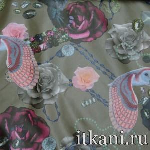 Ткань Курточная, узор цветочный (2550)