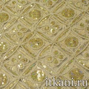 Ткань Сетка с пайетками, цвет золотой (2788)