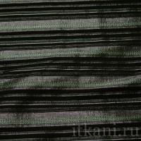 Ткань Рубашечная черная серебряно-зеленая полоска