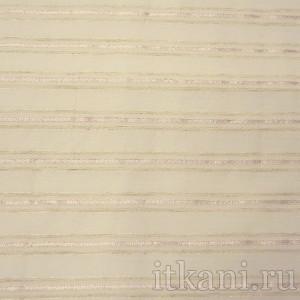 Ткань Рубашечная кремовая в розовую полоску, узор полоска (0548)