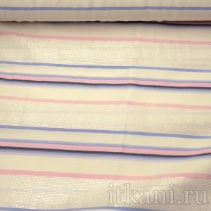 Ткань Рубашечная белая в розово-синюю полоску