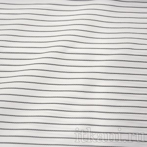 Ткань Рубашечная белая в черную полоску, узор полоска (0550)