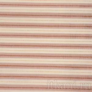 Ткань Рубашечная кремовая в блестящую розовую полоску, узор полоска (0551)
