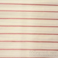 Ткань Рубашечная белая в красно-серебряную полоску