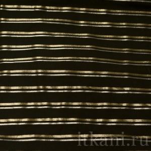 Ткань Рубашечная черная в серебряно-золотую полоску, узор полоска (0554)