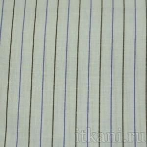 Ткань Рубашечная голубая в сине-черную полоску, узор полоска (0563)