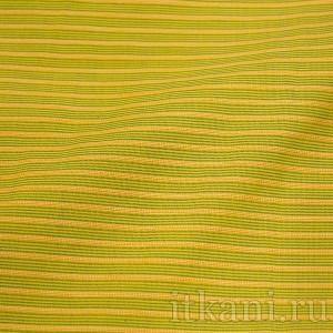 Ткань Рубашечная желтая в зелено-оранжевую полоску (0569)
