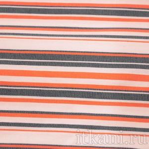 Ткань Рубашечная белая в красно-черную полоску, узор полоска (0571)