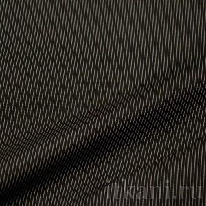 Ткань Рубашечная черная в тонкую полоску (0573)