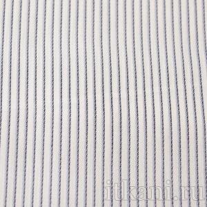 """Ткань Рубашечная белая в черно-голубую полоску """"Уоррен"""", узор полоска (0574)"""