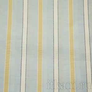 Ткань Рубашечная голубая в бело-бежевую полоску (0578)