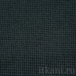 Ткань Рубашечная черная в голубой квадрат (0581)