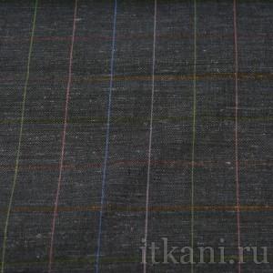 Ткань Лен мокрый асфальт в клетку (0595)