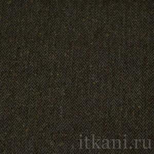 Ткань Костюмная серо-коричневая с узором елочка с желто-оранжевыми вкраплениями, цвет коричневый (0743)